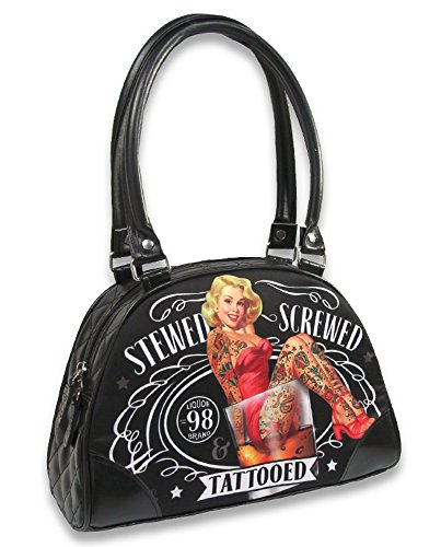 Bolso Pequeño Stewed Screwed Tipo Rockabilly Print Tattooed liquorbrand Bowling rzrwZq4