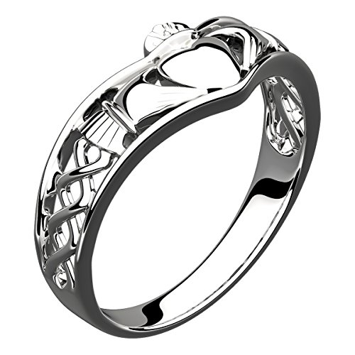 GWG Jewellery GWG Claddagh Ring for Women Sterling Silver Half Covered Band...