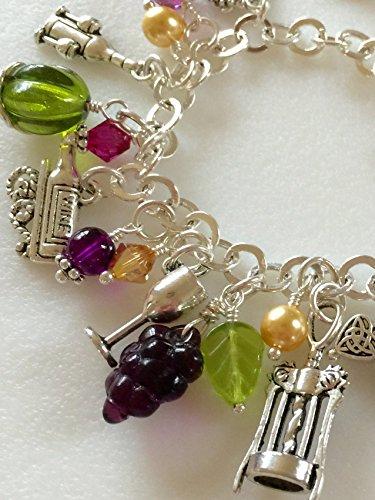 Wine Charm Bracelet, Wine Lovers Bracelet, Hand Stamped