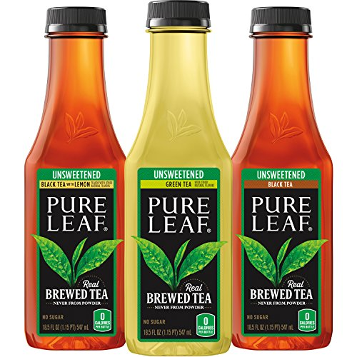 Pure Leaf Iced Tea, Unsweetened Variety Pack, Real Brewed Tea, 0 Calories, 18.5 Ounce Bottles (Pack of ()