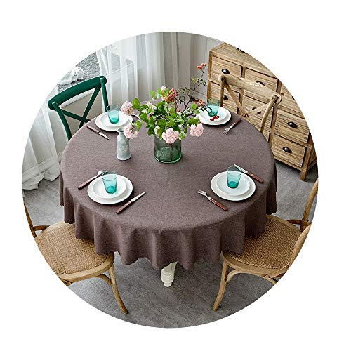 COOCOl Table Cover Round Wedding Party Hotel Table Cloth Cotton Linen Nordic Solid Tablecloths Home Decor,G,Diameter 85Cm Round