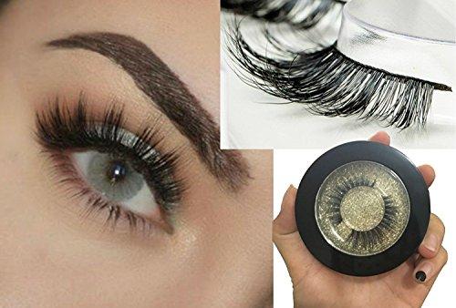 100% 3D Mink Fur Eyelashes | Reusable False Eyelash Strips | Handmade Fake Lashes 1 Pair Kit ()
