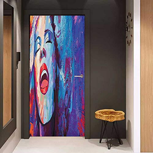Onefzc Automatic Door Sticker Jazz Music Illustration of Singer on Grunge Background Performing Singing Woman Image Easy-to-Clean, Durable W35.4 x H78.7 Blue Purple Red