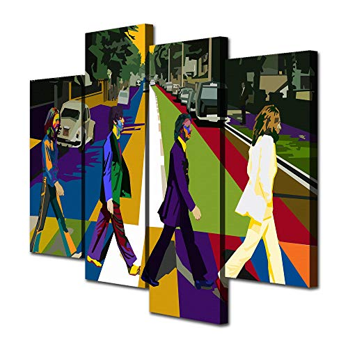 - Mixi Art 4 Pcs The Beatles Abbey Road WPAP Printed Canvas Wall Art Picture Home Décor, Contemporary Artwork, Split Canvases (with Framed, Size 1: 8x16inchx2pcs, 8x22inchx2pcs)