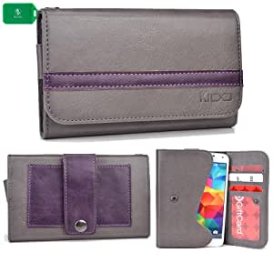 EXCLUSIVE * UNISEX * SMARTPHONE HOLDER WITH INTERNAL CARD SLOTS- ADDED BELT LOOP FOR EASY CARRYING- - GREY/PURPLE - FITS Maxwest Orbit 4400