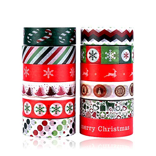 Paper Wishes Christmas 12x12 (Konsait Christmas Washi Tape Set 0.59Inch x 393.7FT(12 Roles), Merry Christmas Masking Tape Collections Art Craft Pack Gift Present Wrap for Xmas decorations Christmas Themed Party Favors Supplies)
