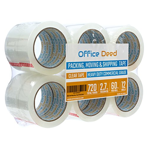 Office Deed 12 Pack Heavy Duty Packaging Tape, Clear Packing tape Designed for moving boxes, shipping, Commercial Grade 2.7mil thickness, 60 Yards, 720 Total Yards Clear 2' Packing Tape
