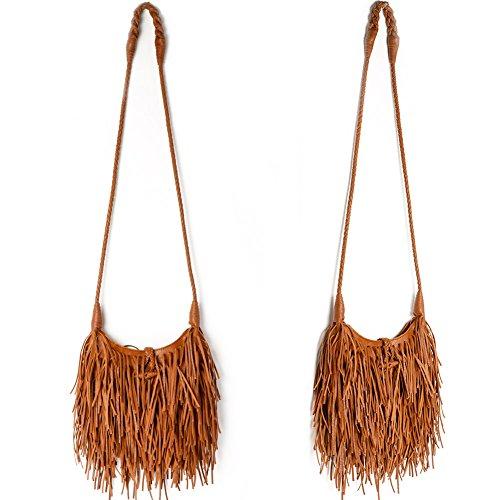 Womens Fringed Shoulder Bag,WALLYN'S Tassel Faux Leather Messenger Bag Hobo Cross Body Handbag Purse (Tan)