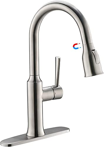Bar Sink Faucet, Kitchen Faucet With Pull Out Sprayer, Crea cUPC Certified Pot Filler Faucet With Magnetic Pull Out Sprayer