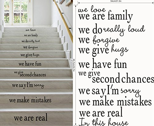 Stair House Rules: We Love We Are Family We Have Fun We Make Mistakes We Are Real in This House Wall Sticker/Quote Words Mural Art Decals 9453 (21.3' X 33.7'/ 5486cm)