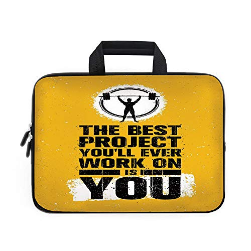 Fitness Laptop Carrying Bag Sleeve,Neoprene Sleeve Case/The Best Project is You Phrase with Weightlifter Fit Body Concept/for Apple Macbook Air Samsung Google Acer HP DELL Lenovo AsusMarigold Dark Blu -  iPrint, ADTY_STDNB_06371_K39xG28