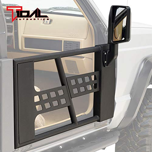 Tidal Offroad 2 Tubular Safari Doors Replacement with Side View Mirror Fit for 86-92 Jeep Comanche MJ / 84-96 Jeep Cherokee XJ Front Door Only