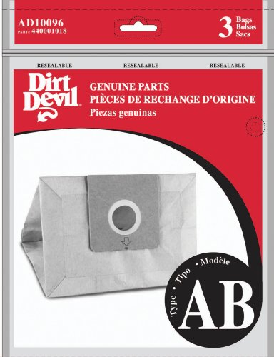 Dirt Devil Type AB Vacuum Bags (3-Pack), AD10096