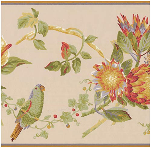 Prepasted Wallpaper Border - Colorful Parrots on Vine Tropical Flowers Beige Wall Border Retro Design, Roll 15 ft. x 10 - Wall 10 Border