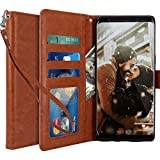 Galaxy Note 8 Case, LK [Wrist Strap] Luxury PU Leather Wallet Flip Protective Case Cover with Card Slots and Stand for Samsung Galaxy Note 8 (Brown)