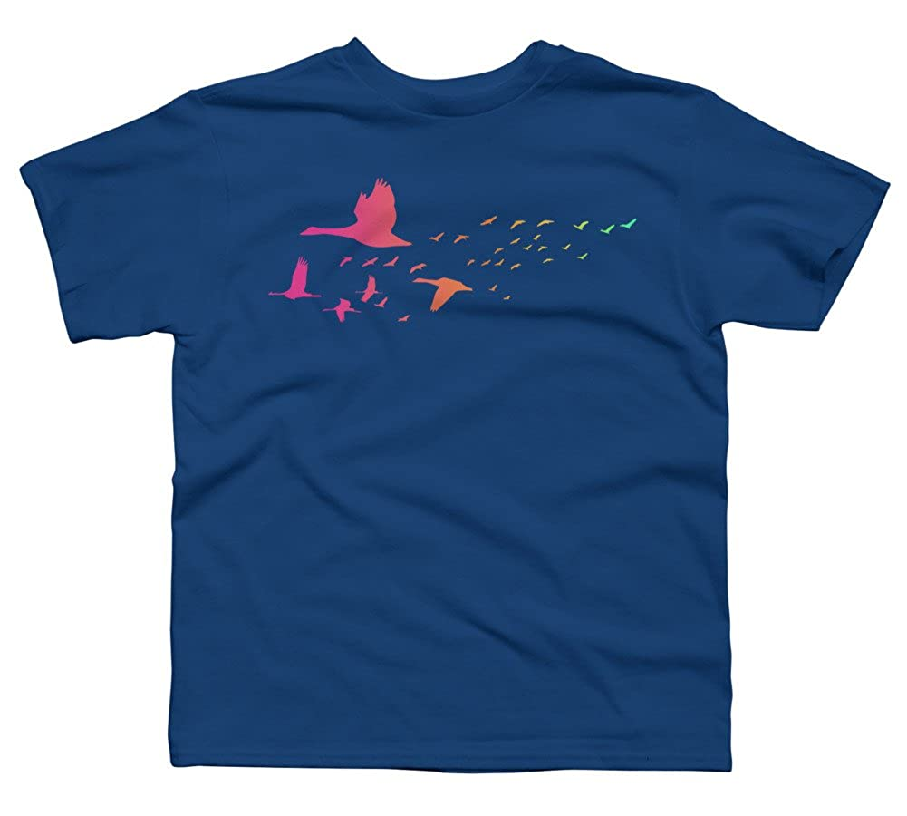 Design By Humans Colored spring birds Boys Youth Graphic T Shirt