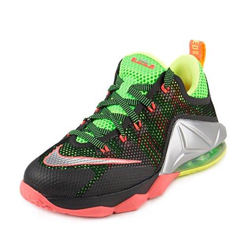 Nike Boys Lebron XII Low (GS) Remix Black/Metallic Silver-Green Streak Synthetic Size 6.5Y