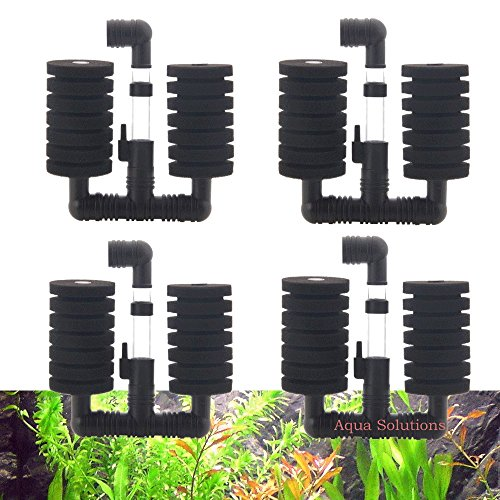 Aquapapa 4X Dual Bio Sponge Filter for Betta Fry Aquarium Fish Tank Up to 30 Gallon (Ship from CA USA) (Dual Sponge Filters 4-Pack) (Fish Tank Fry Holder)