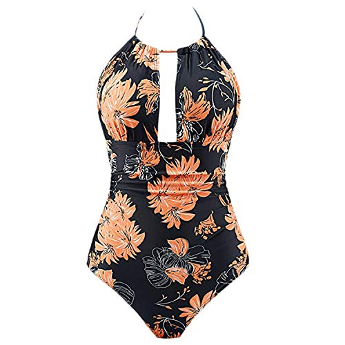 Ashley-OU Women's One Piece Swimwear Backless Tummy Control Monokini Swimsuits Hanging Neck Bathing Suit,Orange,L,CN ()
