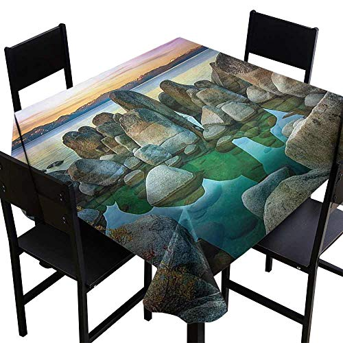 (Stain Resistant Wrinkle Tablecloth,Various Sized Condensed Rocks in River at Evening Time When Lamps Down Marine Theme 60