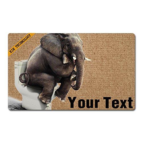 Artsbaba Doormat Personalized Your Text Door Mat Elephant Sitting On The Toilet Doormats Monogram Non-Slip Doormat Non-Woven Fabric Floor Mat Indoor Entrance Rug Decor Mat 30