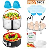 Homemaxs Instant Pot Accessories Set 6 Pcs-Fits for 6,8,10Qt Instant Pot-Steamer Basket/Egg Steamer Rack/Springform Pan/Parchment Steamer Paper/Egg Bites Molds/Silicone Mitts/with Free Recipes Ebook