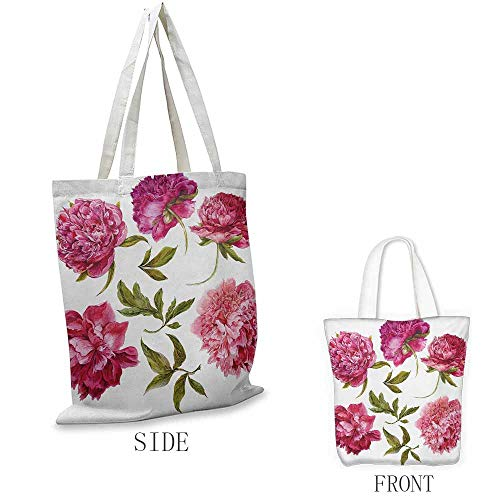 Floral Washable shopping bag Spring Buds in Vivid Tones Watercolor Peony Bouquet Artwork Handmade shopping bags W15.75 x L17.71 Inch Fuchsia Magenta Pink Olive Green