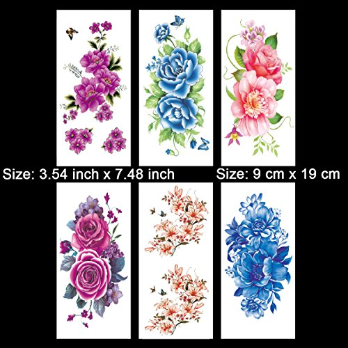 Kotbs 6 Sheets Floral Temporary Tattoo - Over 30+ Tattoos - Sexy Tattoo Sticker for Women & Girl Fake Tattoo (Chrysanthemum, Rose, Peony) by Kotbs (Image #1)