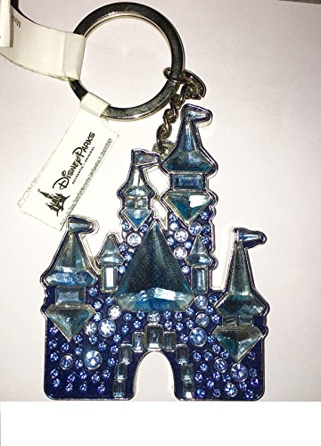 (Disneyland 60th Diamond Anniversary Jeweled Crystal Castle Keychain Key Ring)