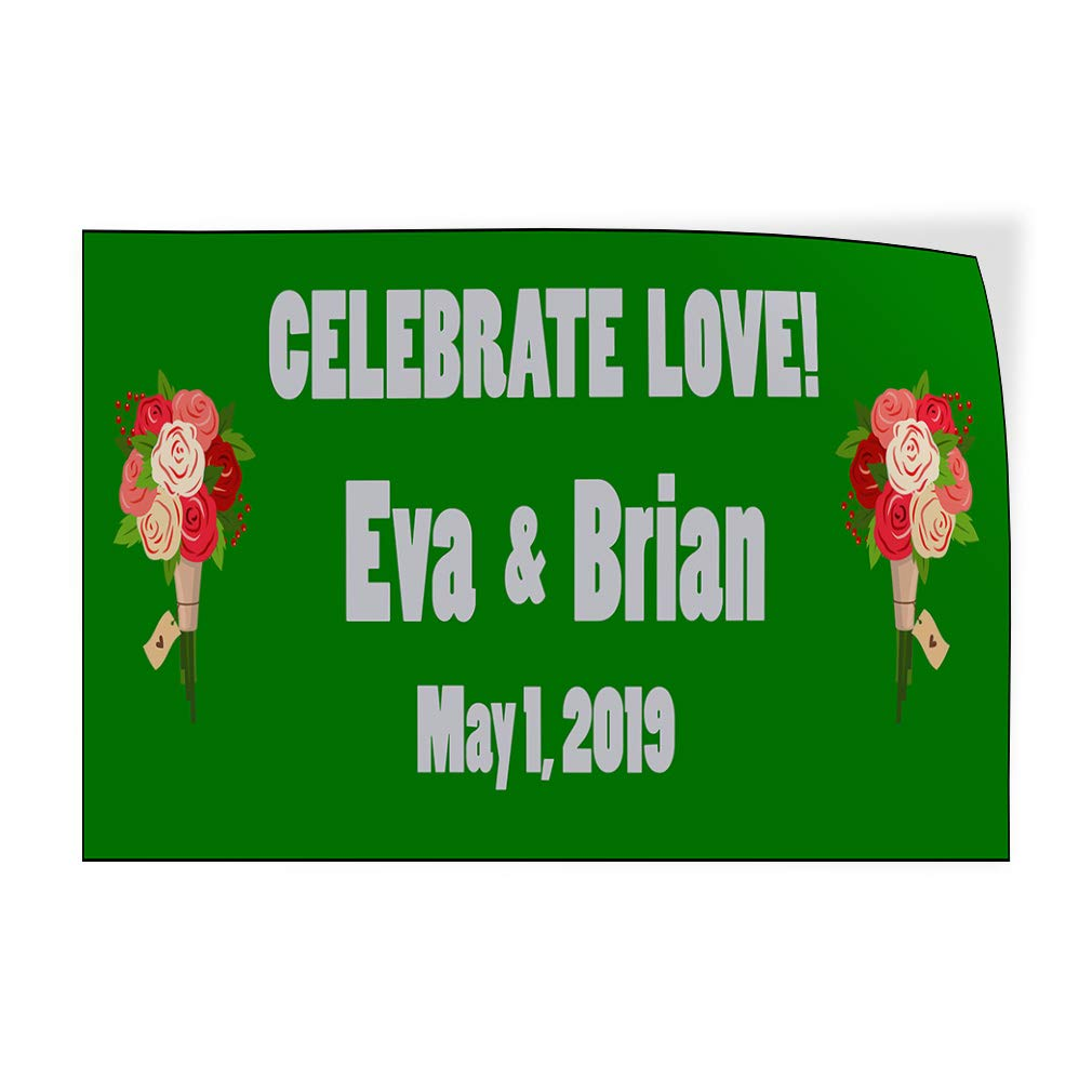 Custom Door Decals Vinyl Stickers Multiple Sizes Celebrate Love Wedding Groom Bride Lifestyle Wedding Outdoor Luggage /& Bumper Stickers for Cars Green 30X20Inches Set of 10