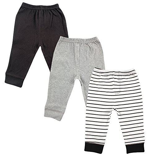 Luvable Friends Unisex 3 Pack Tapered Ankle Pants, Black Stripe, 12-18 Months