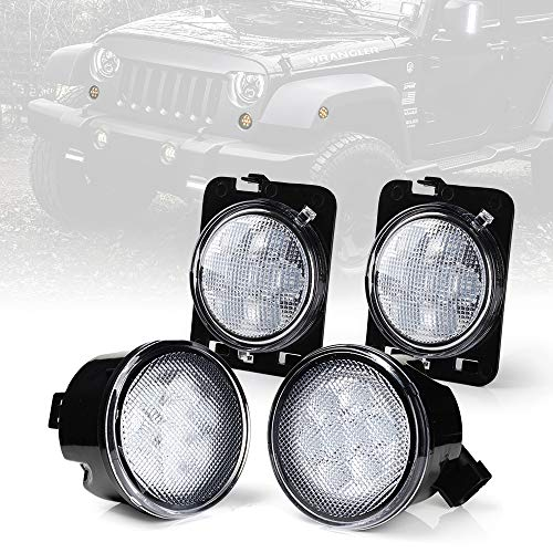 Xprite Clear Lens Yellow LED Front Replacement Turn Signal Light & Fender Side Marker Light Assembly for 2014-2018 Jeep Wrangler JK JKU