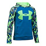 Under Armour Boys' Storm Armour Fleece Big Logo Printed Hoodie,Cruise Blue (899)/Quirky Lime, Youth X-Small