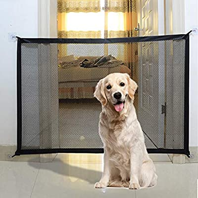 Puerta mágica para perros, puerta plegable portátil para perros, puerta de escalera para mascotas, instalación interior y exterior para perros, gatos, bebés, 110 x 72 cm: Amazon.es: Bebé