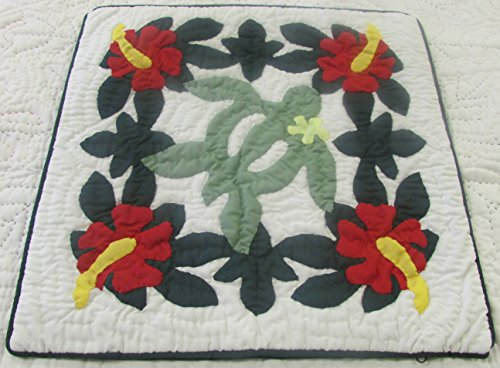 (2 Hawaiian Quilt Throw Pillow Cushion Cover 16x16 100% Hand quilted/100% Hand Appliqued)