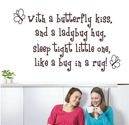 Wall Sticker with A Butterfly Kiss for Kids Rooms Girl Removable Art Vinyl Nursery Decor Baby Girl Princess Quotes