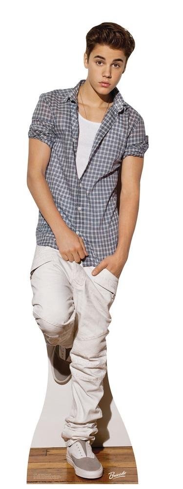 Justin Bieber Checkered Shirt Lifesize Standup Poster Cardboard Cutouts 19  x 70in