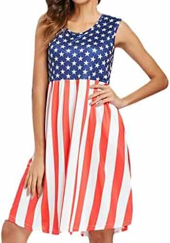 8290118a6478 iCJJL Women Sleeveless 4Th July Dress USA American Flag Midi Dress Summer  Beach Tank Sundress