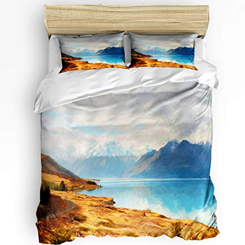 - YEHO Art Gallery King Size Luxury 3 Piece Duvet Cover Sets for Boys Girls,Reflection Image of Snowy Mountains on Blue Lake Bedding Set,Include 1 Comforter Cover with 2 Pillow Cases