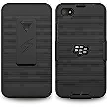Amzer Shellster Shell Case Holster Combo for BlackBerry Z30 - Retail Packaging - Black