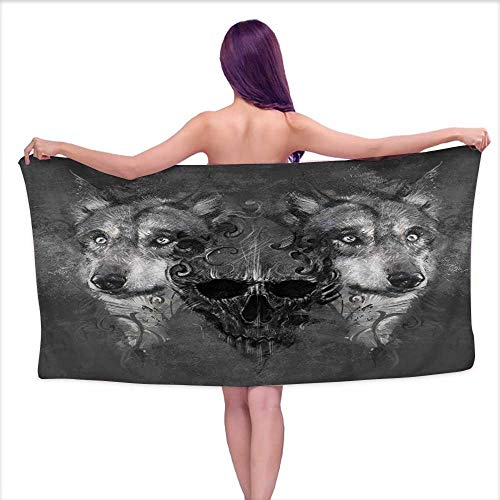 (Glifporia Luxury Bath Towels Wolf,Abstract Skull Figure Between Two Canine Animals Wildlife Grunge Tattoo Like Artwork,Grey Black,W28 xL55 for Men red)