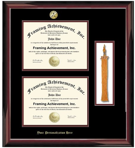 Gold Emboss Personalization - Double Diploma Frame with Graduation ...