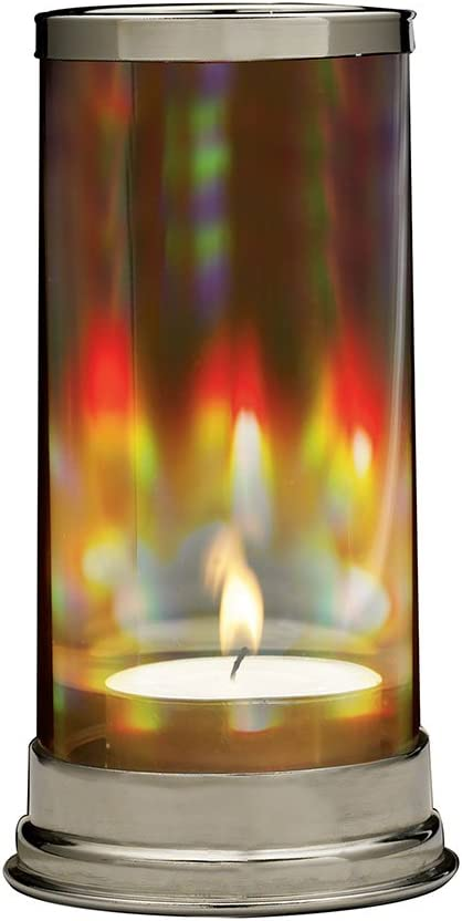 SIGNALS Rainbow Hurricane Candleholder - Crystal Prism Glass Cylinder: Home & Kitchen