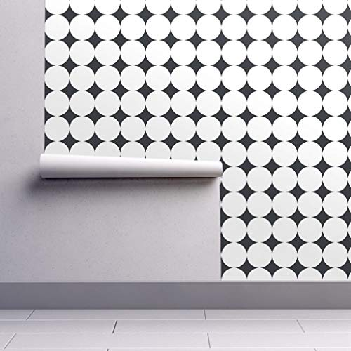 White Polka Dots Wallpaper - Peel-and-Stick Removable Wallpaper - Jumbo Polka Dots Retro Dots Upholstery Apparel Julies S Black and by Juliesfabrics - 24in x 60in Woven Textured Peel-and-Stick Removable Wallpaper Roll