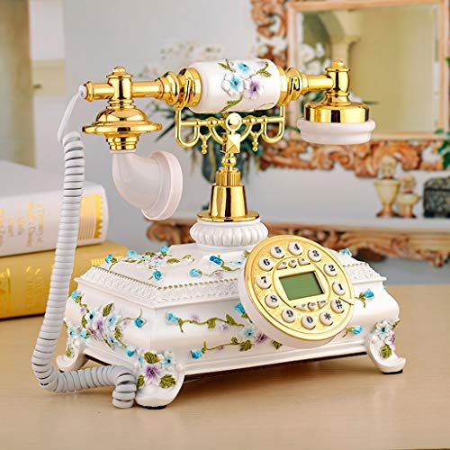 Small Flower Rustic Style Antique European Phone Family Embossed Living Room Retro Creative Bedroom Living Room Office Cafe Retro Decorative Landline (Color : Blue) from YQL