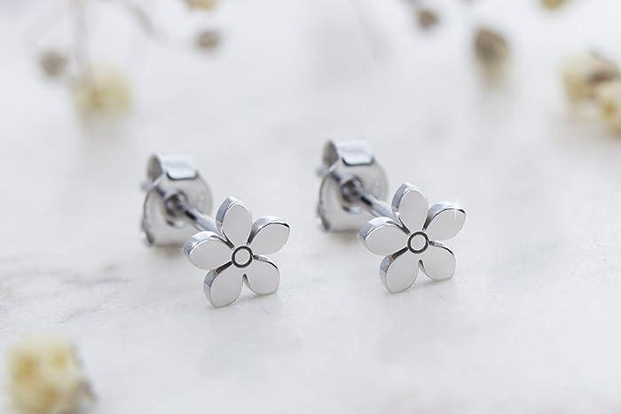 Amazon Small Flower Earrings 14k Gold Earrings White Gold