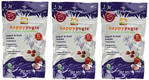 Happy Yogis Mixed Berry Organic Yogurt Snacks for Babies and Toddlers, 1 Ounce Pouches (Pack of 3)