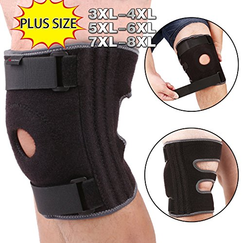 Plus Wrap Size (3XL 4XL Knee Brace For Plus Size, Wrap Around To Fit Large Legs, Adjustable Stabilizer Provide Strong Support for Pain Relief, ACL, MCL, Meniscus Tear, Arthritis, Jogging and Athletes by JointBrace)