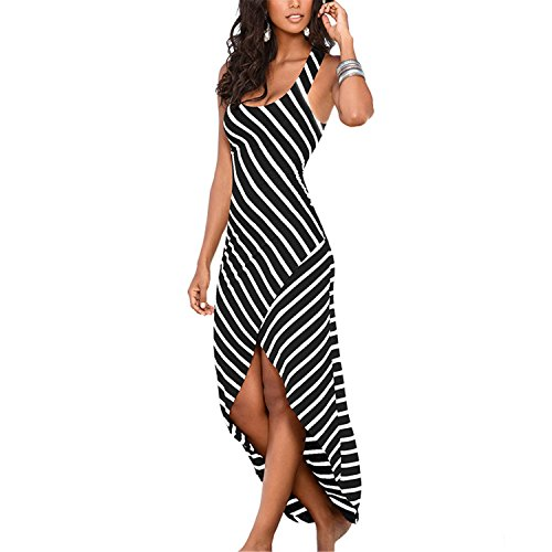 JIANGTAOLANG Women Summer undress Female Striped Long Dress Tunic Boho Beach Dress Robe Femme Dresses