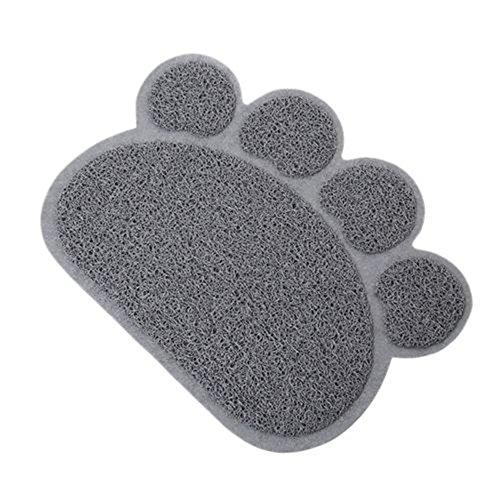 Pet Bowl Paw Print - Paw Print Pet Mat Pet Food Water Placemat Sleeping Pad (Gray)